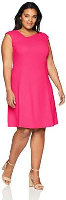 London Times Women's Plus Size Asymmetric Neck Fit and Flare Dress
