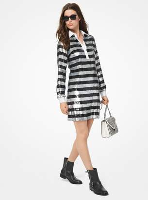 MICHAEL Michael Kors Stripe Sequined Rugby Dress