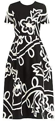 Carolina Herrera Women's Short-Sleeve Floral Midi Dress