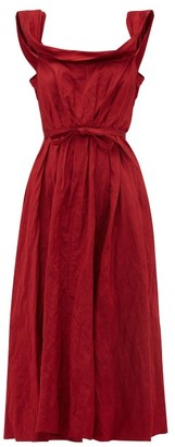 Brock Collection Patti Scoop Neck Crinkle Satin Midi Dress - Womens - Burgundy
