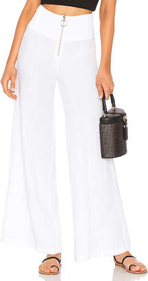 Enza Costa French Linen Pintuck Wide Leg Pant