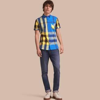 Burberry Short-sleeve Check Stretch Cotton Blend Shirt $275 thestylecure.com
