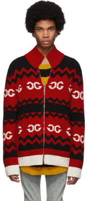 Gucci Red Wool Mirrored GG Zip-Up Sweater