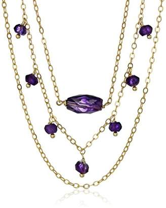 Lapis Gold-Plated Sterling Silver Amethyst Drop and Accents On 3 Row Necklace