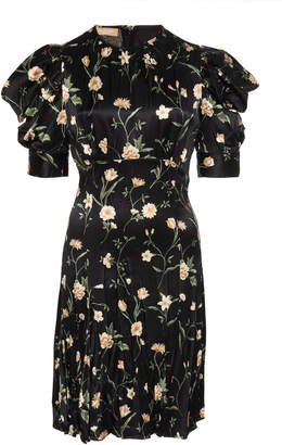 Michael Kors Draped Puff Sleeve Silk Printed Shift Dress