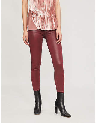 7 For All Mankind High-rise glossy skinny jeans