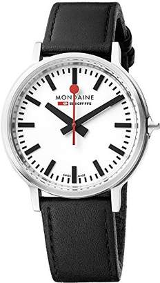 Mondaine Men's 'SBB' Swiss Quartz Stainless Steel and Leather Casual Watch