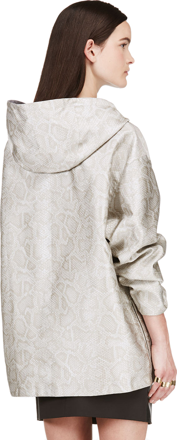 Richard Nicoll Grey Reversible Hooded Python Pattern Jacket
