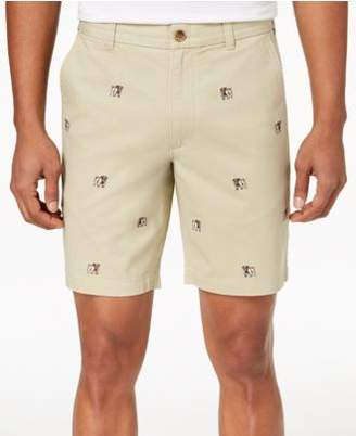 """Club Room Men's Bulldog Embroidered 9"""" Shorts, Created for Macy's"""