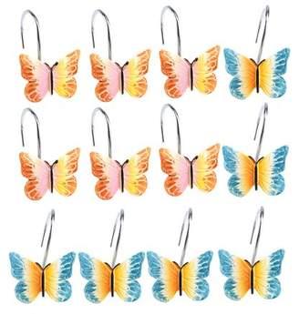 Image Shower Curtain Hooks Rings Set of 12 Decorative Butterfly Shower Curtain Hooks