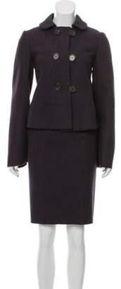 Bottega Veneta Virgin Wool Skirt Suit Aubergine Virgin Wool Skirt Suit