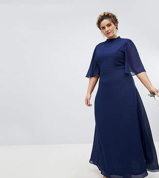TFNC Plus High Neck Maxi Bridesmaid Dress With Flutter Sleeve