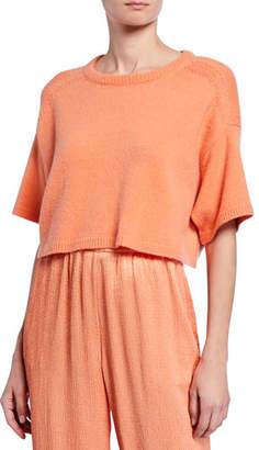 Sally LaPointe Round-Neck Boxy Elbow-Sleeve Cropped Sweater