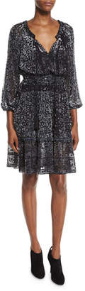 Elie Tahari Olsen 3/4-Sleeve Semisheer Floral-Print Dress, Black Multi $498 thestylecure.com