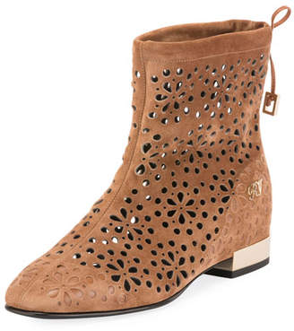 Roger Vivier Floral-Perforated Suede Flat Bootie