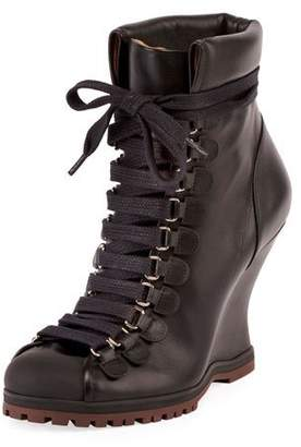 Chloé Leather Lace-Up Wedge Hiker Bootie