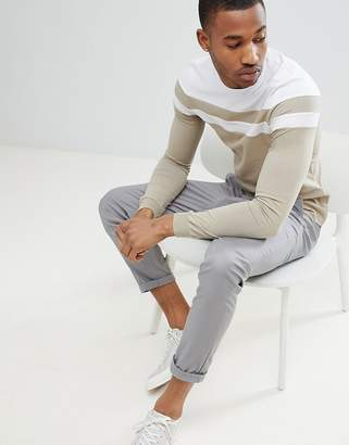 BEIGE Asos Design ASOS DESIGN muscle long sleeve t-shirt with cut and sew in