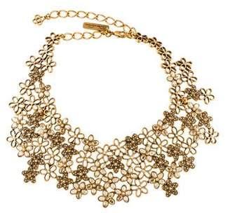 Oscar de la Renta Crystal Flower Bib Necklace