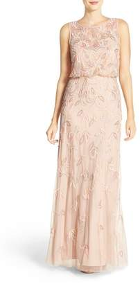 Adrianna Papell Embellished Mesh Blouson Gown $379 thestylecure.com