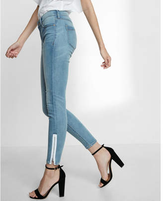 Express mid rise contrast zipper stretch ankle jean leggings