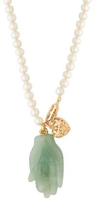 Timeless Pearly - Jade Hand And Pearl Necklace - Womens - Blue