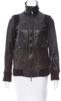 Plein Sud Jeans Paneled Leather Jacket