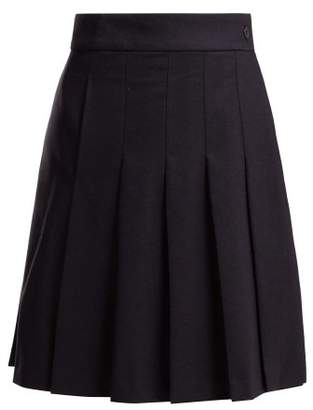 A.P.C. Hortense Pleated Wool Blend Skirt - Womens - Navy