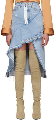 Off-White Off White Blue Asymmetric Denim Skirt