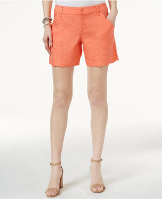 INC International Concepts Curvy-Fit Scalloped-Edge Shorts, Only at Macy's $49.50 thestylecure.com