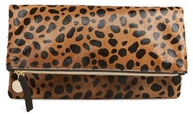 Clare Vivier Genuine Calf Hair Leopard Print Foldover Clutch - Beige