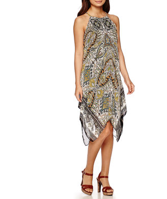 Msk MSK Sleeveless Halter Medallion-Print Hanky-Hem Shift Dress $72 thestylecure.com