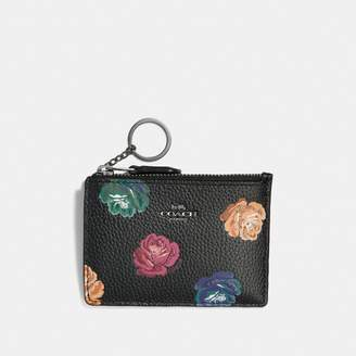 Coach Mini Skinny Id Case In Polished Pebble Leather With Rainbow Rose Print
