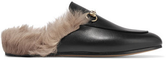 Gucci - Horsebit-detailed Shearling-lined Leather Slippers - Black $995 thestylecure.com