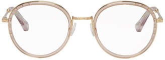 Chloé Pink and Gold Round Glasses