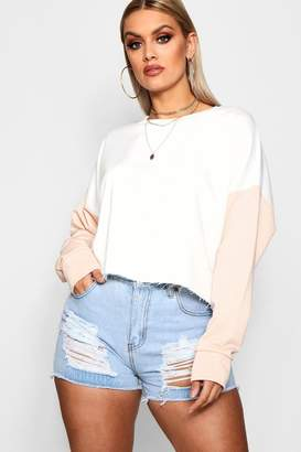 boohoo Plus Colour Block Sleeve Sweat Top