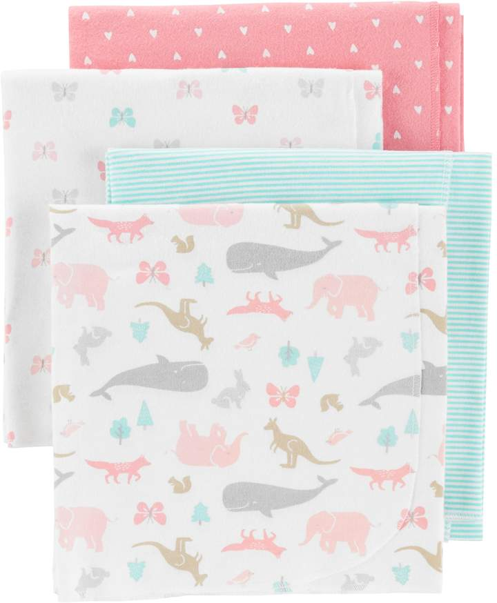 Carters Baby Carter's 4-pack Animal & Hearts Flannel Receiving Blankets