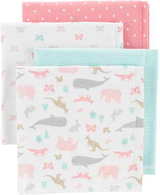 Carter's Baby 4-pack Animal & Hearts Flannel Receiving Blankets