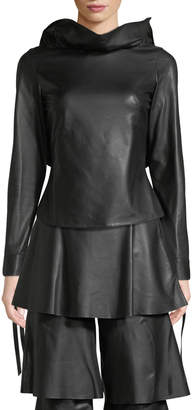 Osman Jodie Backless Tie-Sleeve Ruffled Leather Top