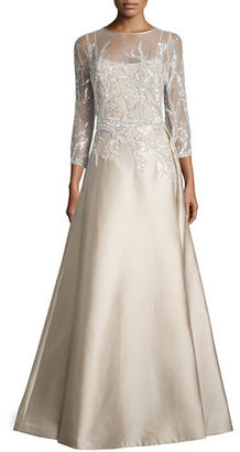 Rickie Freeman for Teri Jon 3/4-Sleeve Embellished Ball Gown $960 thestylecure.com