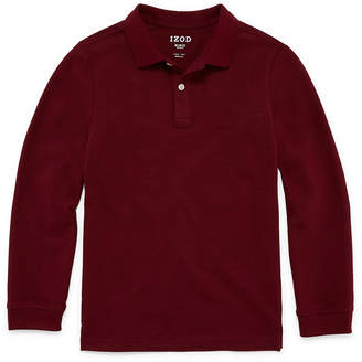 Izod EXCLUSIVE Stretch Long Sleeve Pique Polo Boys 4-20- Reg & Husky