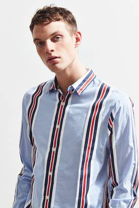 Urban Outfitters Light Blue Preppy Stripe Button-Down Shirt