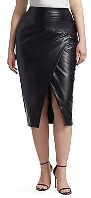 Marina Rinaldi Ashley Graham x Women's Faux-Leather Pencil Skirt