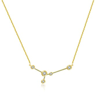 Genevieve Collection Cancer Zodiac Constellation Necklace 18K Yellow Gold & Diamond