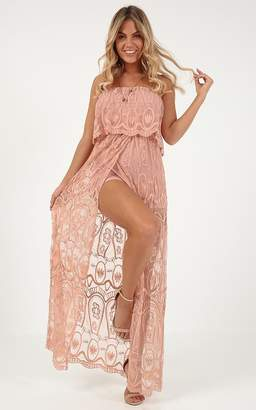 Showpo Dont Say Goodbye maxi playsuit in peach lace - 8 (S) Maxi