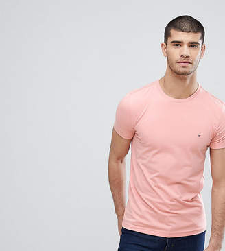 Tommy Hilfiger T-Shirt Flag Logo Stretch Slim Fit In Pink Exclusive To Asos