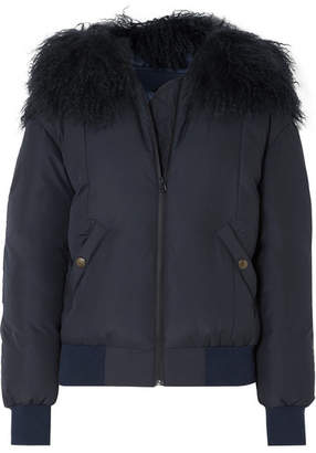 Mr & Mrs Italy Shearling-trimmed Down Bomber Jacket - Navy