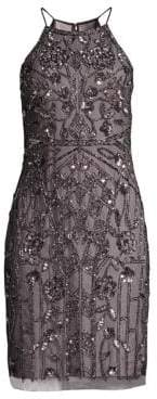 Aidan Mattox Beaded Halterneck Cocktail Dress