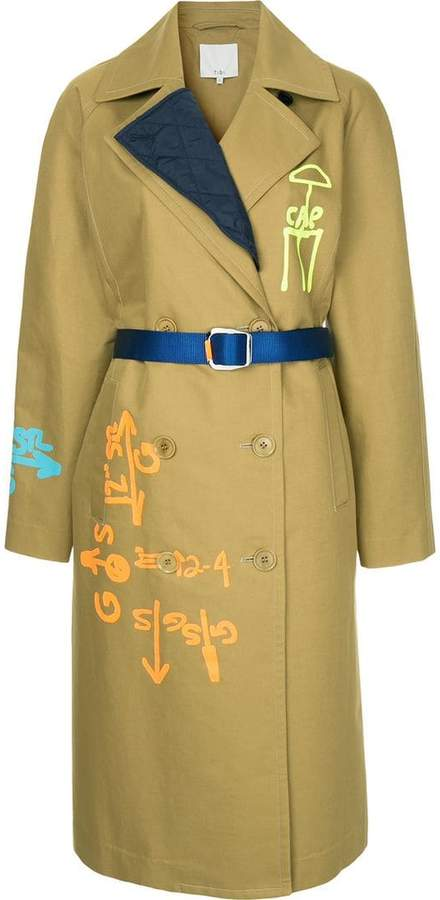 scribble trench coat