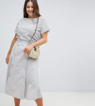 Asos DESIGN Curve double breasted full midi skirt