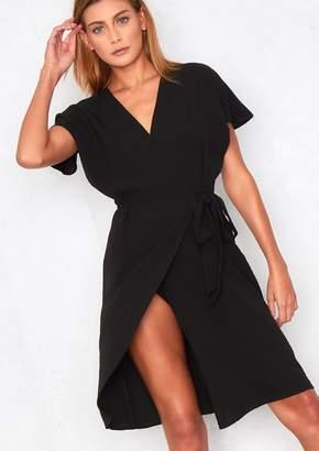 at Missy Empire · Missy Empire Missyempire Paris Black Wrap Tie V Neck  Crepe Dress 6eb8655ac